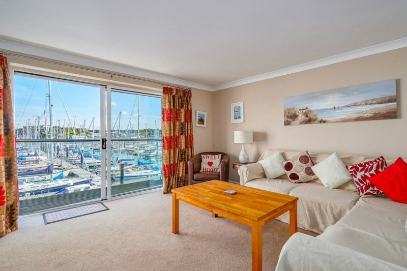 Spacious living room with stunning views | Marina View, Mount Batten, near Plymouth