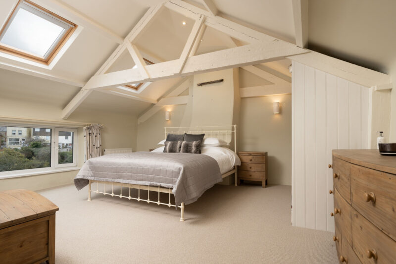 The spacious master bedroom with Superking bed.