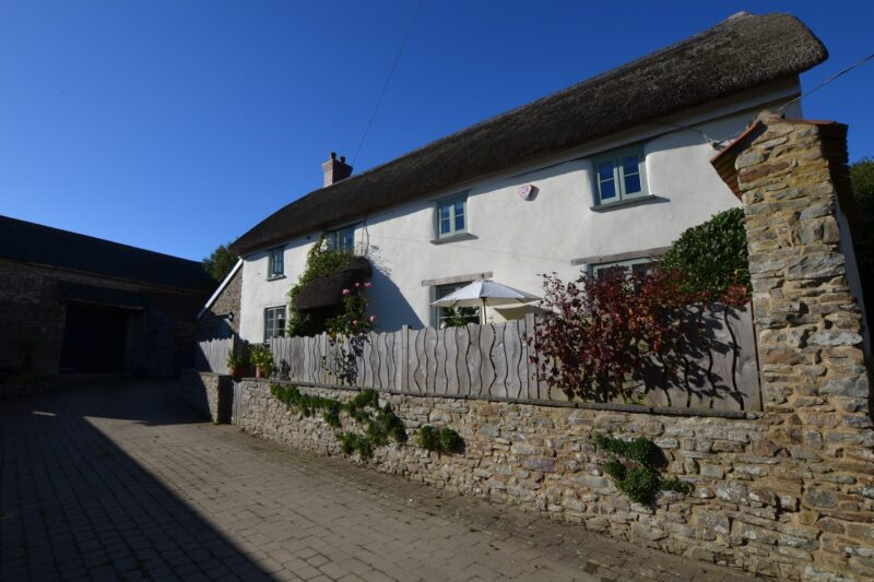 View towards the Grade II Listed thatched cottage