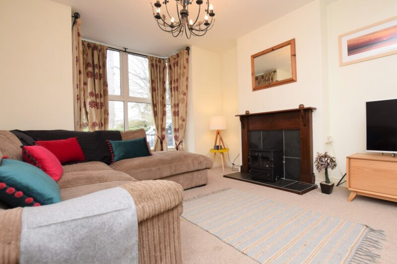 Lounge area with flame-effect gas fire