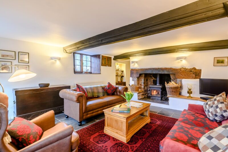 Comfortable lounge with wood burner