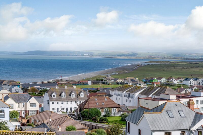 Views over the rooftops towards Westward Ho beach