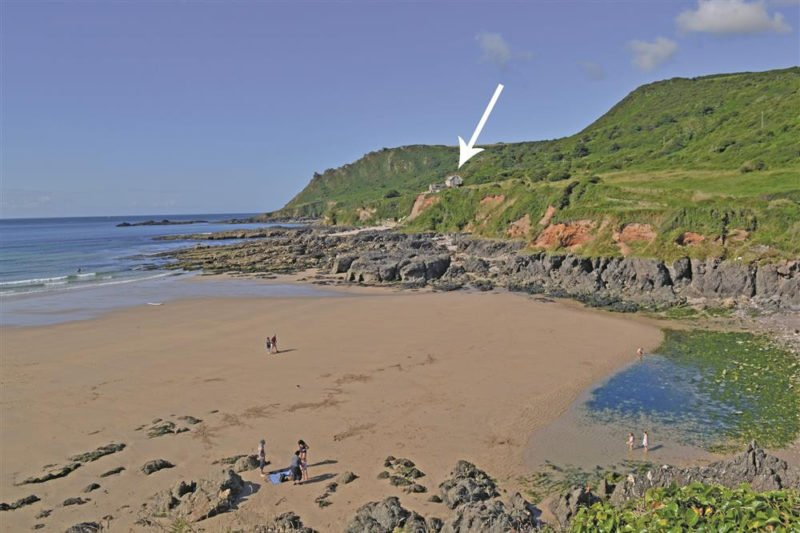 Lannacombe Beach with the cottage arrowed.