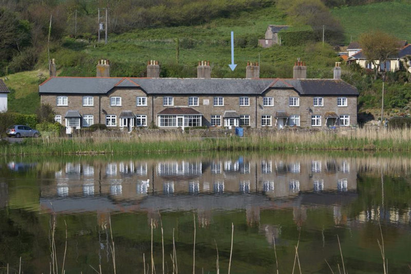 View of 4 Florence Cottages from across the Ley