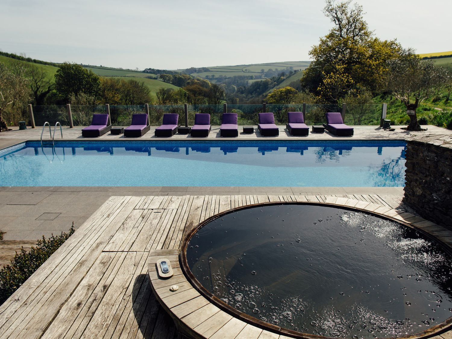 Relax in the swimming pool or hot tub